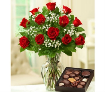 12 Premium Long Stem Red Roses, Box of Candy in Palm Desert CA, Milan's Flowers & Gifts
