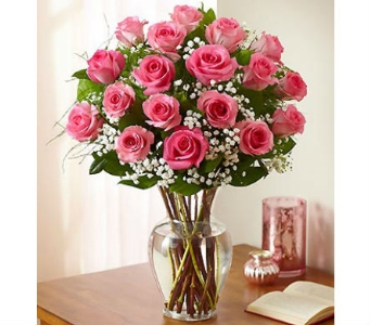 18 Premium Long Stem Pink Roses in Palm Desert CA, Milan's Flowers & Gifts