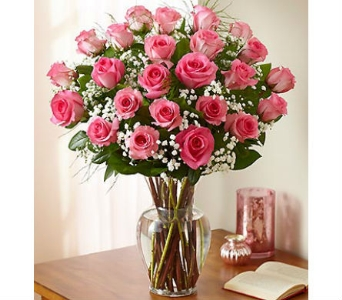 24 Premium Long Stem Pink Roses in Palm Desert CA, Milan's Flowers & Gifts
