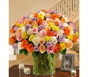 100 Premium Multicolored Roses in a Vase in Palm Desert CA, Milan's Flowers & Gifts
