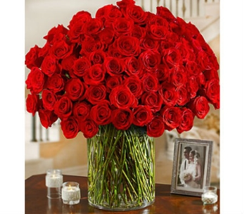 100 Premium Red Roses in a Vase in Palm Desert CA, Milan's Flowers & Gifts