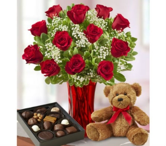 Abundant Love 12 Roses, Box of Candy, Teddy Bear in Palm Desert CA, Milan's Flowers & Gifts