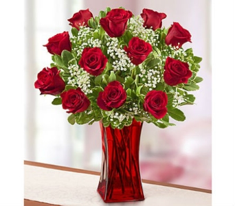 Premium Red Roses in Red Vase in Palm Desert CA, Milan's Flowers & Gifts