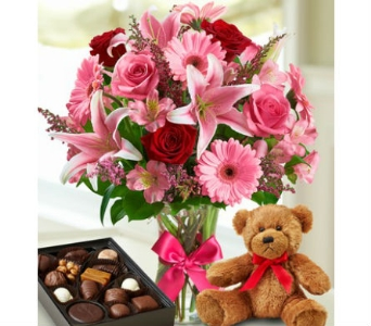 Valentine flower Surprise, Box of Candy, Teddy Bea in Palm Desert CA, Milan's Flowers & Gifts