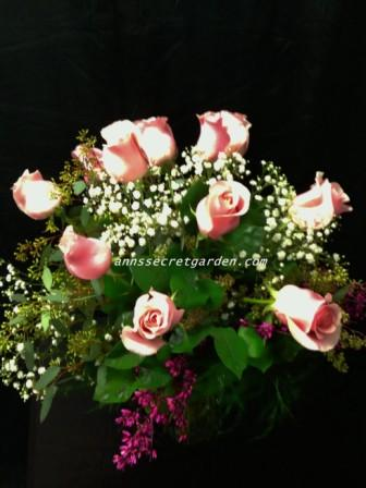 Pink Roses (12) With multiple Fillers in Bethany OK, Ann's Secret Garden