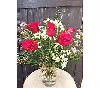 Red Roses In Mason Jar in West Los Angeles CA, Westwood Flower Garden