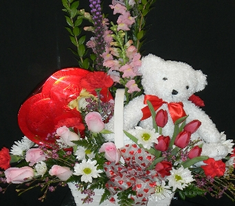 Deluxe Valentine Basket  in Norwich NY, Pires Flower Basket, Inc.