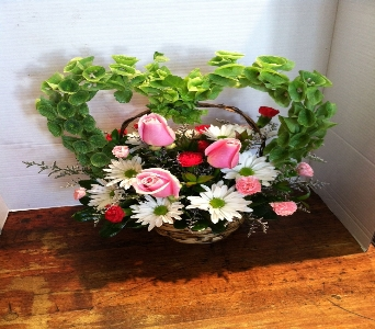 Heart Basket in Kingston NY, Flowers by Maria
