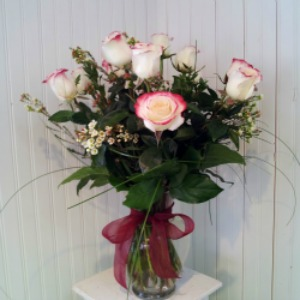 One Dozen Roses with Accent Flower, Vased in Hartland WI, The Flower Garden