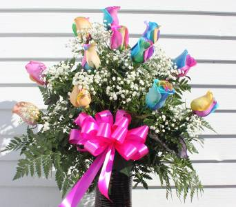 1 Dozen Rainbow Roses in Cornwall ON, Fleuriste Roy Florist, Ltd.