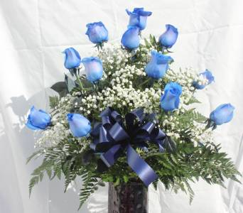 12 Blue Long Stem Roses in Cornwall ON, Fleuriste Roy Florist, Ltd.