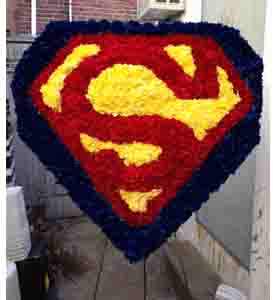Superman Funeral Spray in Philadelphia PA, Petal Pusher Florist & Decorators