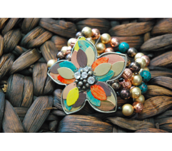 Patina Flower Beaded Stretch Bracelet in Manhattan KS, Westloop Floral