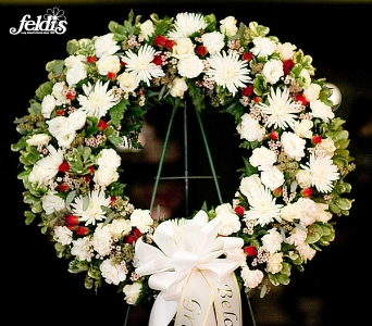 The White Feldis Sympathy Wreath in Merrick NY, Feldis Florists