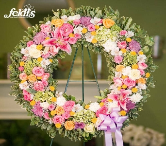 The Feldis Pink Sympathy Wreath in Merrick NY, Feldis Florists