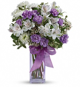Teleflora's Lavender Laughter Bouquet in Bluffton IN, Posy Pot