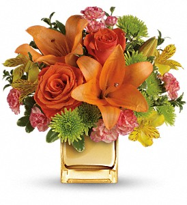 Teleflora's Tropical Punch Bouquet in Midland TX, A Flower By Design
