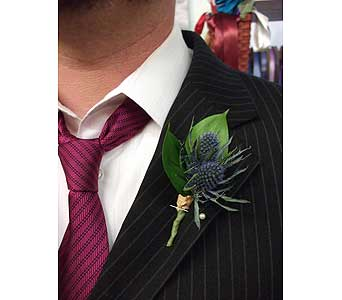 Blue Thistle Boutonniere in West Los Angeles CA, Westwood Flower Garden