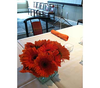 Centerpiece - Orange Gerberas in Wake Forest NC, Wake Forest Florist