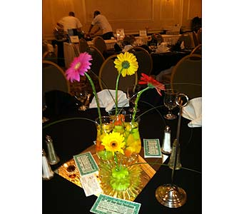 Dinner Centerpieces - Gerberas-View 4 in Wake Forest NC, Wake Forest Florist