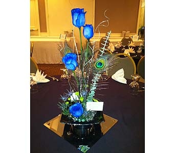 Crones Benefit - Blue Rose Table Centerpiece-2 in Wake Forest NC, Wake Forest Florist