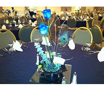 Crones Benefit - Blue Rose Table Centerpiece-3 in Wake Forest NC, Wake Forest Florist