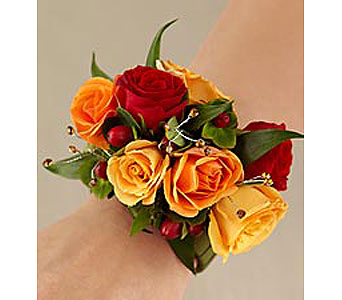 Red and Orange Spray Rose Wristlet in Stamford CT, Stamford Florist