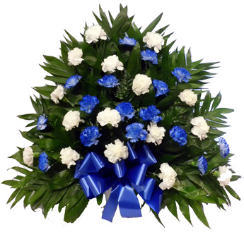 32 Carnation Tribute Mache: Blue and White in Scranton PA, Remick Floral & Gift