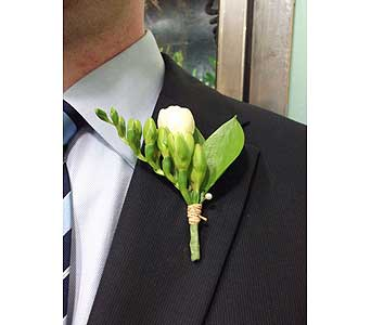Freesia and Raffia Boutonniere in West Los Angeles CA, Westwood Flower Garden