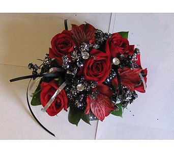 Red Glitter Rose Corsage in Hales Corners WI, Barb's Green House Florist