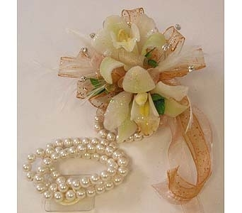 Wrist Corsage - Mini Cymbidium Orchids in Bloomington IL, Forget Me Not Flowers