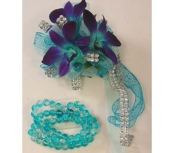 Wrist Corsage - Teal & Purple* Dendrobium Orchids in Bloomington IL, Forget Me Not Flowers