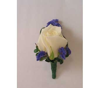 Boutonniere � white* rose in Bloomington IL, Forget Me Not Flowers