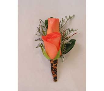 Boutonniere-orange* sweetheart roses in Bloomington IL, Forget Me Not Flowers