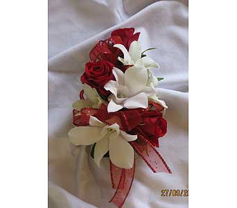 Red & White Corsage in Hales Corners WI, Barb's Green House Florist