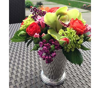 Silver Mini Julep Cup Assistant Bouquet in Bellevue WA, CITY FLOWERS, INC.