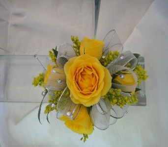Yellow Rose Corsage in Greenville SC, Expressions Unlimited