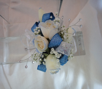 White roses with blue in Greenville SC, Expressions Unlimited