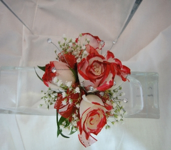 Cream Roses accented with Red in Greenville SC, Expressions Unlimited
