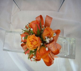 Orange Rose Corsage in Greenville SC, Expressions Unlimited