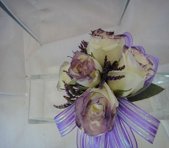 Cream Roses accented with Purple in Greenville SC, Expressions Unlimited