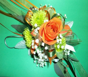 STANDARD ORANGE AND GREEN WRIST CORSAGE  in Hagerstown MD, Chas. A. Gibney Florist & Greenhouse