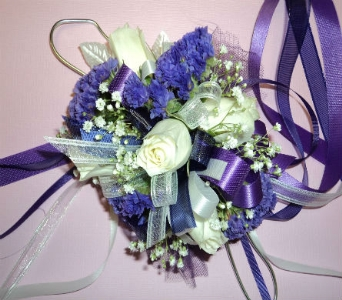 CLASSIC PURPLE AND WHITE WRIST CORSAGE in Hagerstown MD, Chas. A. Gibney Florist & Greenhouse