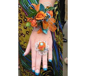 Orange and Blue Wrist Corsage in McKees Rocks PA, Muzik's Floral & Gifts