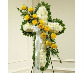 Peace and Prayers Standing Cross - Yellow in Whittier CA, Ginza Florist