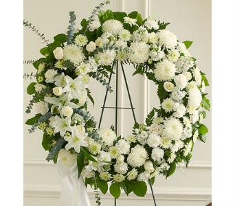 Serene Blessings Standing Wreath - White in Whittier CA, Ginza Florist