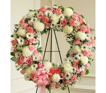 Serene Blessings Standing Wreath - Pink & White in Whittier CA, Ginza Florist