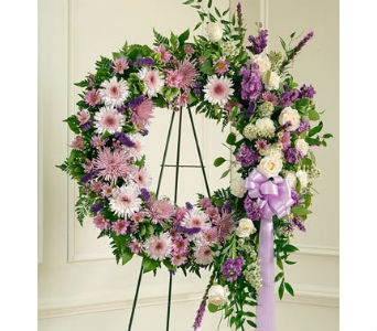 Serene Blessings Standing Wreath - Lavender in Whittier CA, Ginza Florist