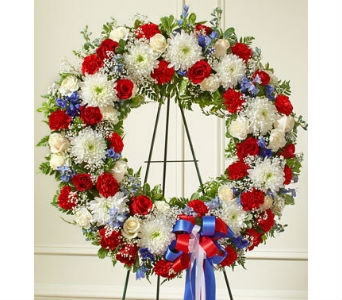 Serene Blessing Standing Wreath-Red/White/Blue in Whittier CA, Ginza Florist