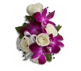 Fancy Orchids & Roses Wristlet in Fairfield CT, Glen Terrace Flowers and Gifts
